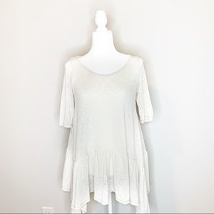 Small Easel Light Ivory Cream Knit Tunic Top